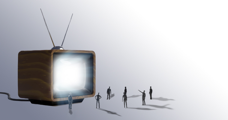 graphic representation of a tv with small people standing around